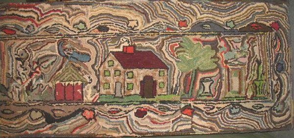 HOUSE ANTIQUE HOOKED RUG, SQUIGGLY LANDSCAPE