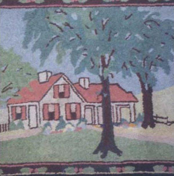 HOUSE IN TREE-FILLED LANDSCAPE ANTIQUE HOOKED RUG, BORDERED