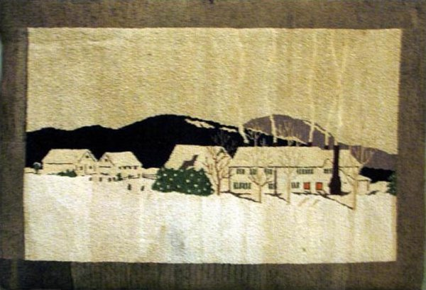 TROMBLEY (artist) VINTAGE HOOKED RUG - WINTER SCENE, houses in snow