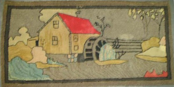MILL HOUSE AND STREAM VINTAGE HOOKED RUG