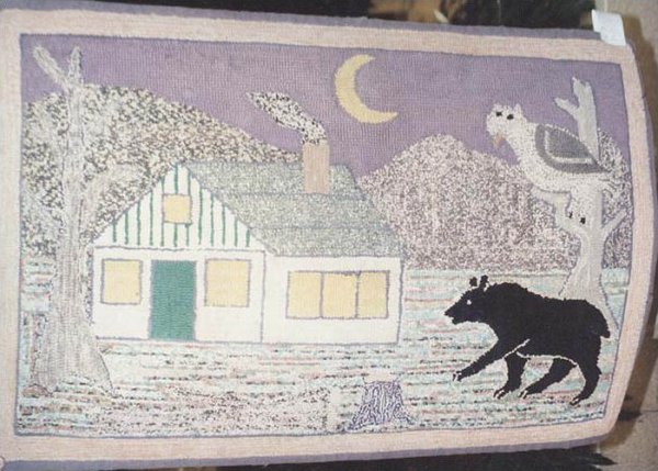 BEAR OUTSIDE A HOUSE ANTIQUE HOOKED RUG