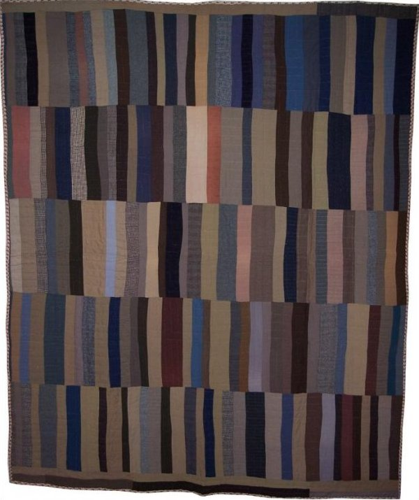 STRIP BARS ANTIQUE QUILT, five panels