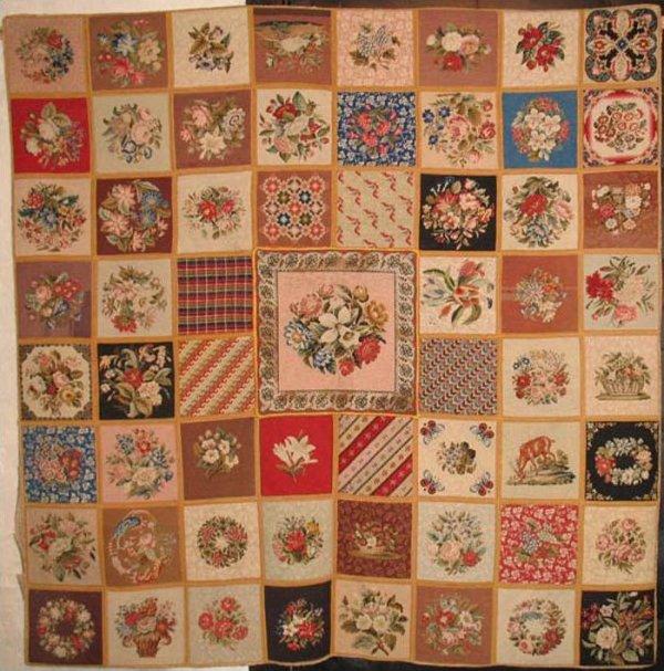 Needlepoint antique rug with sampler blocks for International decor rugs