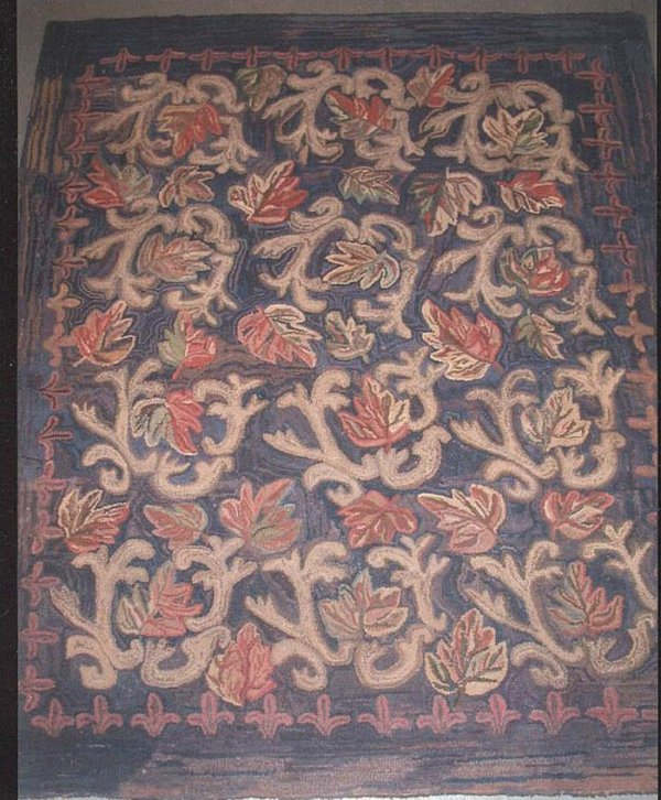 LEAVES ANTIQUE HOOKED RUG, MAINE