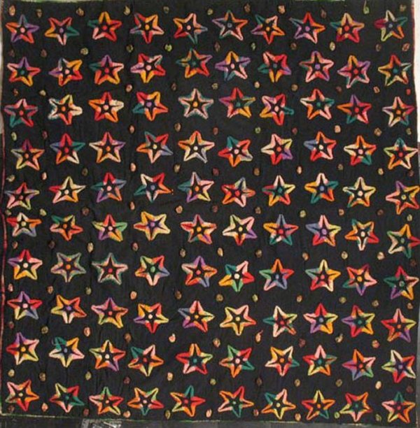 AMISH 'RAINBOW PLUSHWORK' STARS ANTIQUE QUILT