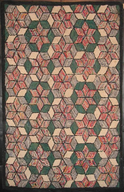 SIX POINT STARS TUMBLING BLOCKS ANTIQUE HOOKED RUG