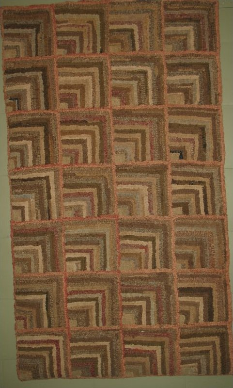 LOG CABIN HONEY NEUTRALS ANTIQUE HOOKED RUG