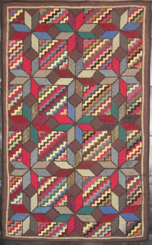 EIGHT POINT STARS GRID OVER ZIGZAG SQUARES ANTIQUE HOOKED RUG