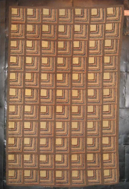 LOG CABN CORNERS NEUTRALS SQUARE ANTIQUE HOOKED RUG