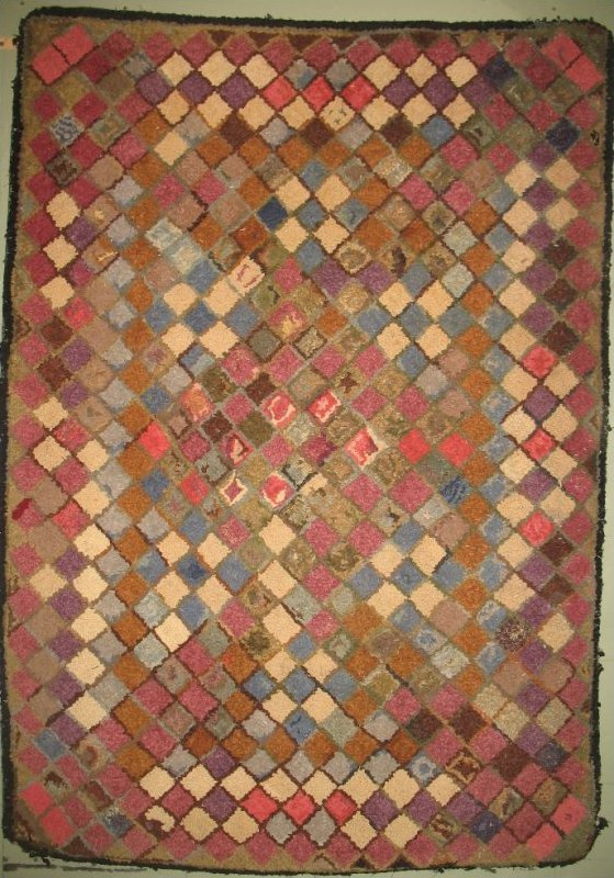 9 PATCHES WEATHERED BRICKS ANTIQUE HOOKED RUG