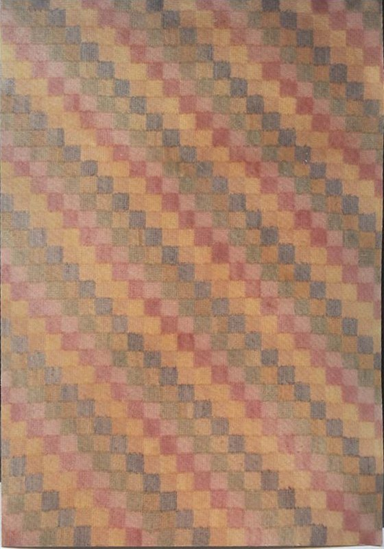 STRAIGHT FURROW PASTEL SQUARES ANTIQUE HOOKED RUG