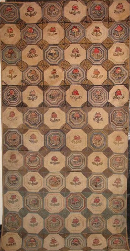 UPRIGHT ROSES IN OCTAGONS ANTIQUE HOOKED RUG