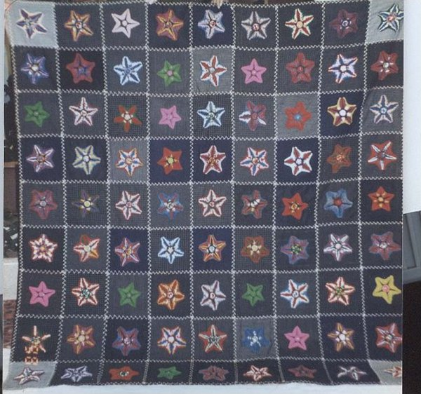PLUSHWORK STARS ON SUITING SQUARES ANTIQUE QUILT