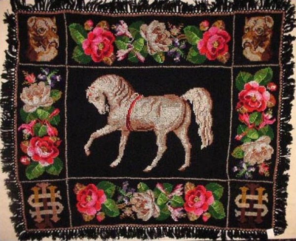 HORSE and ROSES ANTIQUE KNITTED THROW