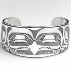 Native American jewelry, Sterling Silver Eagle Face Cuff Bracelet