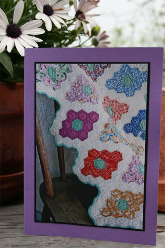 Handmade Photo Card ~ Antique Quilt #1