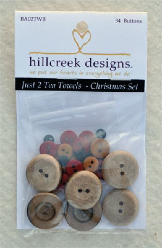 Just 2 Tea Towels- Christmas Button Pack