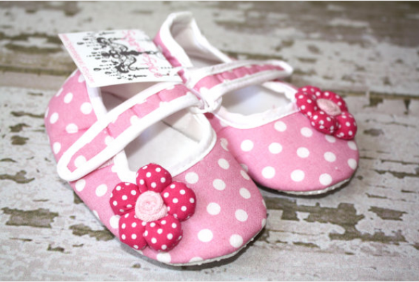 Pink and white baby mary janes with dark pink fabric flowers