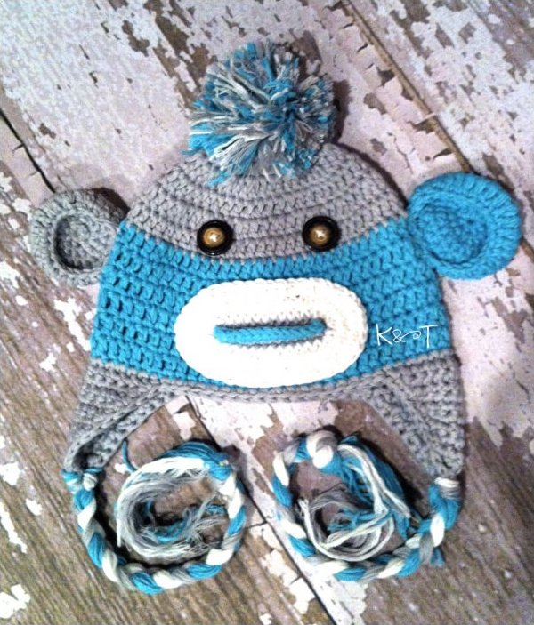 Grey and Blue crochet Monkey hat