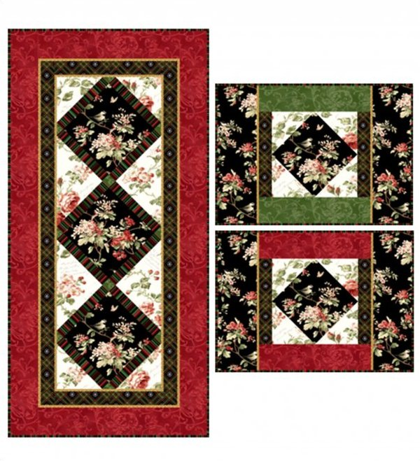 Holiday Blooms Table Runner and Placemat Pattern