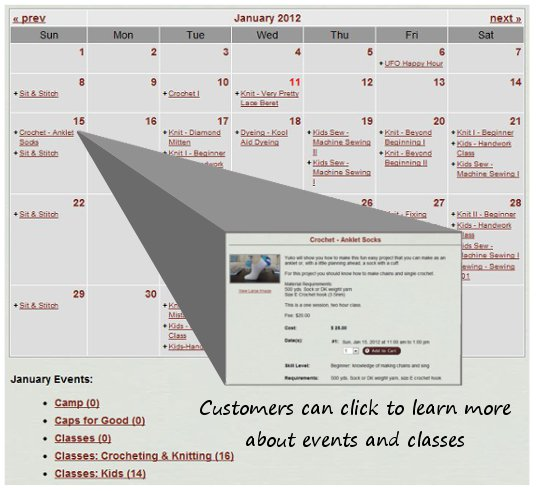 Help customers get involved with a functional events calendar.