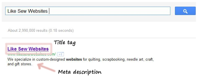 See title tag and meta description in search engine results.