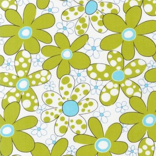Piece O' Cake Daisies and Dots Chartreuse Floral