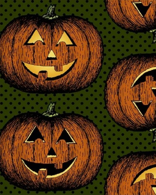 In the Beginning Fabrics Hallowgraphix Jack O Lantern Green