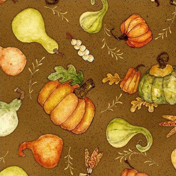 Wilmington Prints Harvest Market Tossed Pumpkins and Gourds