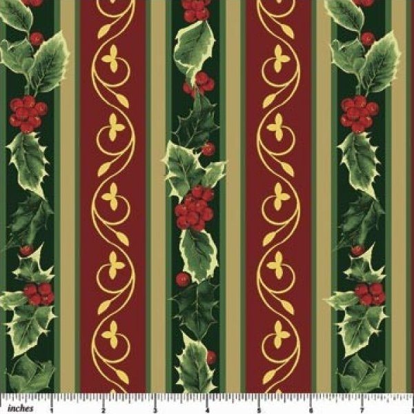 Northcott Holly Holiday Stripe