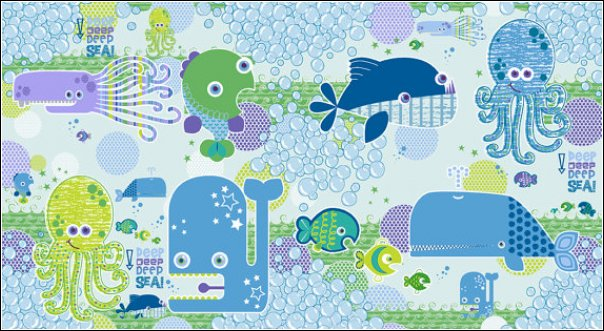 Studio e DEEP DEEP SEA Fabric - Panel Blue - Whale Octopus Fish