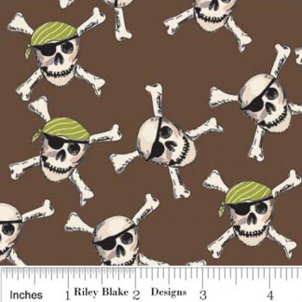 SKULLS Crossbones Pirates - by Emily Taylor - Riley Blake Designs - C2572 Brown