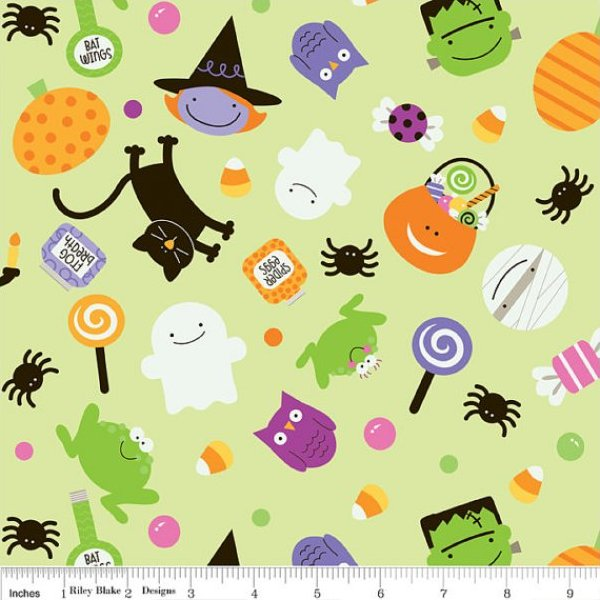 Riley Blake TRICK OR TREAT Fabric - Main Toss Green Halloween