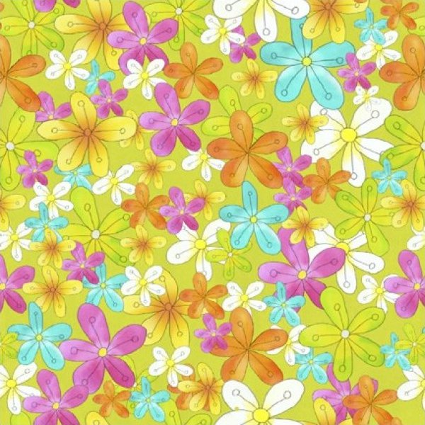 Studio e - GROOVY - Floating Floral Lime Green