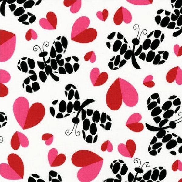 Robert Kaufman Heart Garden Fabric - Love Butterflies