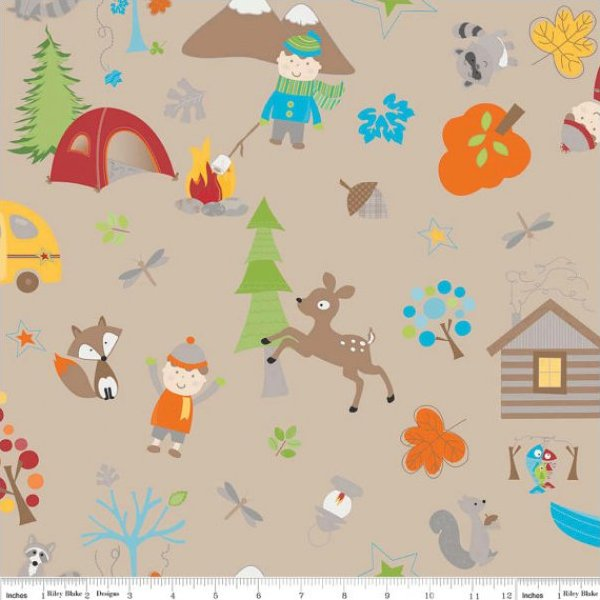 Riley Blake Fox Trails Fabric - Camping Tossed Characters Brown