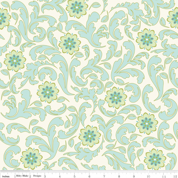 Verona by Emily Taylor Damask Teal  Riley Blake Fabric