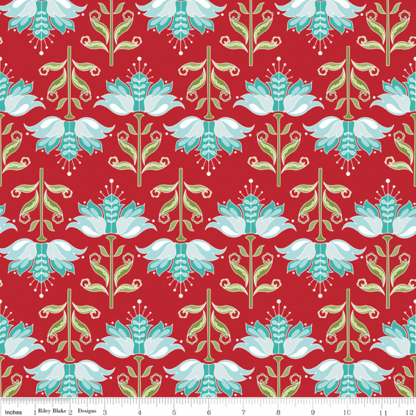 Apple of my Eye by The Quilted Fish - Apple Dainty Red Flowers