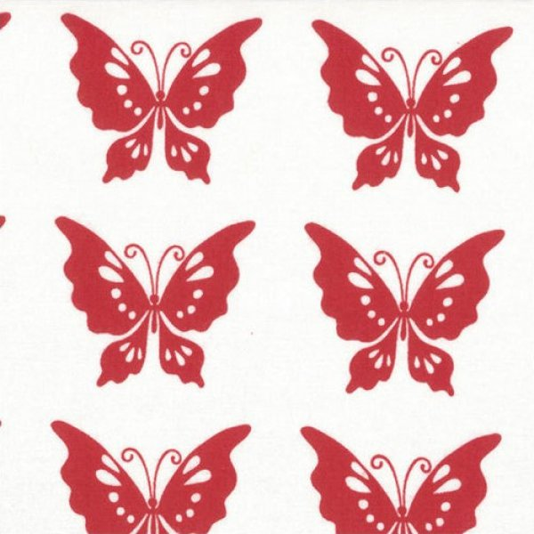 Half Moon Modern Butterflies in Red for Moda