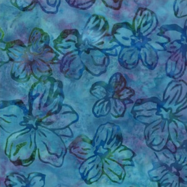 Tropical Flowers on Blue