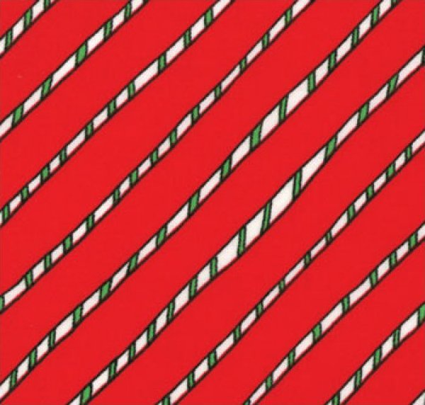 Green and White Stripe on Red