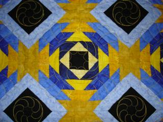 Yellow and Blue Pieced Quilt Top - Fabric Store