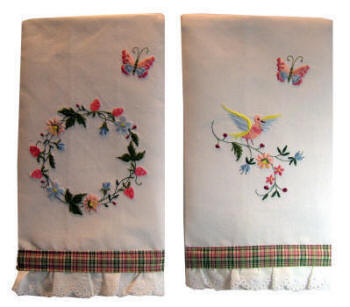 Garden Embroidery Designs machine embroidery designs at embroidery library color change g3520 bees in garden 11813 Here Are Two Different Examples Of Our Linen Guest Towels Embroidered With Three Different Garden Party Designs