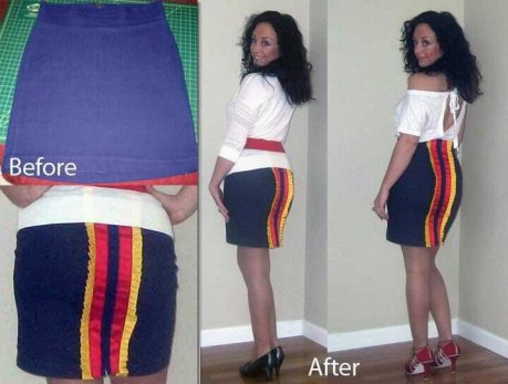 DIY Skirt, recycled clothing, upcycled fashion, fashion redesign