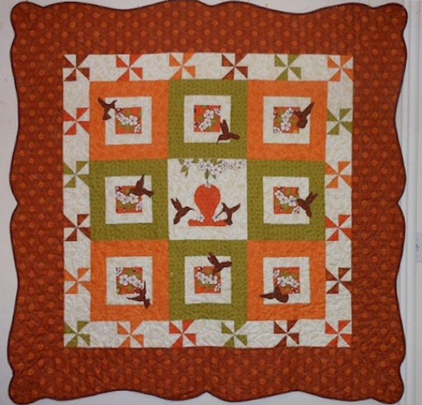 Hummingbird Garden Quilt Pattern - Applique - Pinwheels - 3-D Effects -  by Pink Hippo Quilts