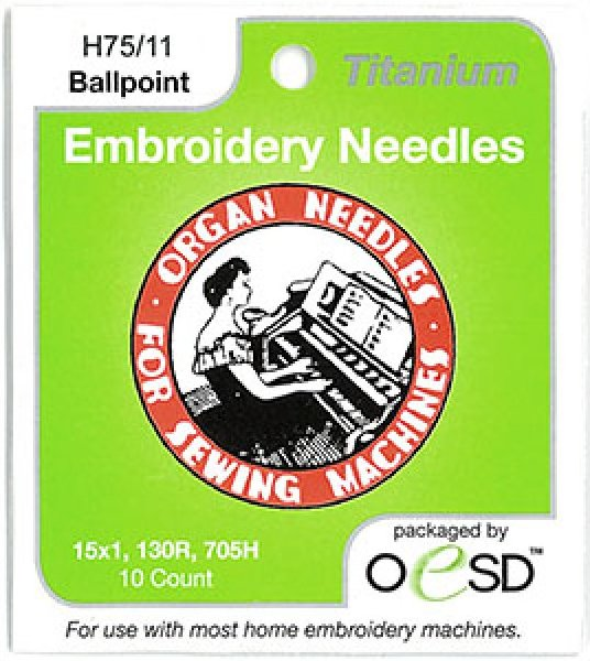 Titanium Organ Embroidery Needles, 10 pk