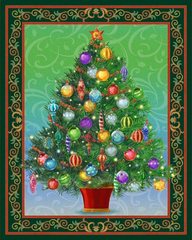 Quilting treasures christmas tree panel lighted kit