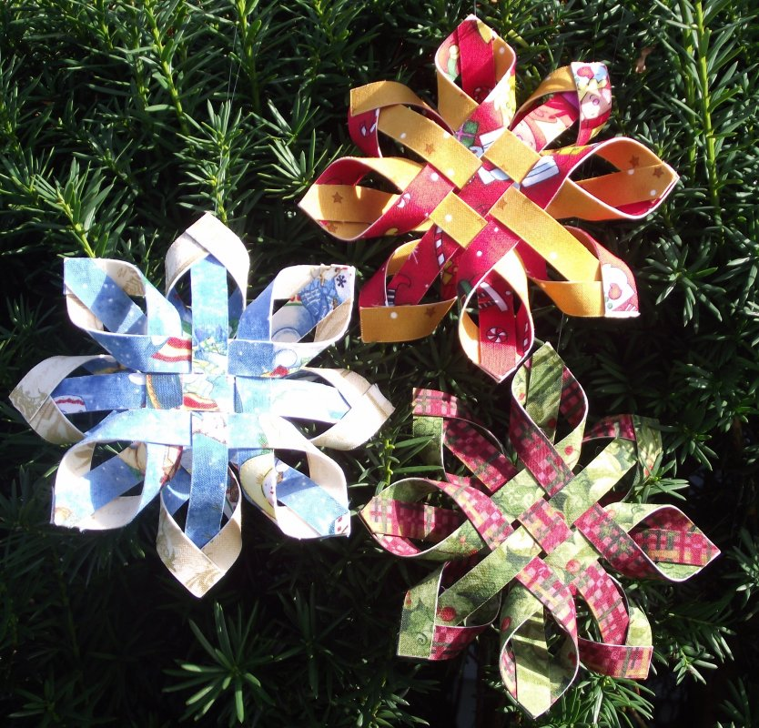Fabric Ornaments Patterns : Woven Snowflake Ornament KIT-Penny Marble Designs - 13502