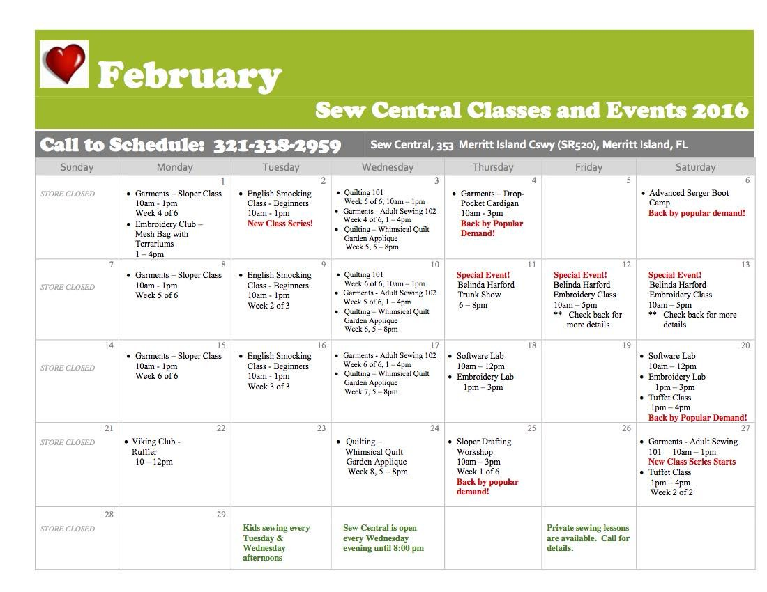 February Class Calendar Sew Central