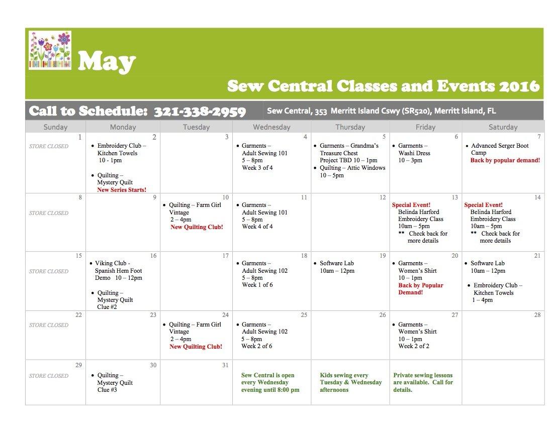 March Class Calendar Sew Central